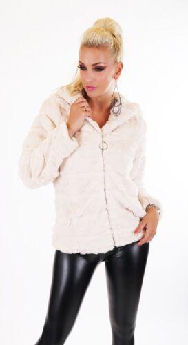 Teddy chaqueta abrigo tocón blando peluche piel sintética Pelz fell chaqueta capucha S//M M//L