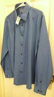 Express Mens Fitted Geometric Blue Shirt 100% Cotton Size L Retails $69