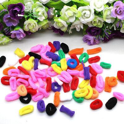 1 Bag of 100pcs Sweet Nice Multicolored Elastic Hair Ties Ropes Rings Headbands
