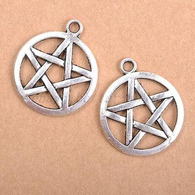 FREE SHIP 20pcs Tibetan Silver Pentagram Charms Pendants 20MM B373