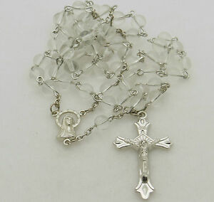 Catholic Rosary Bead Necklace Clear Glass Round Beads Ebay
