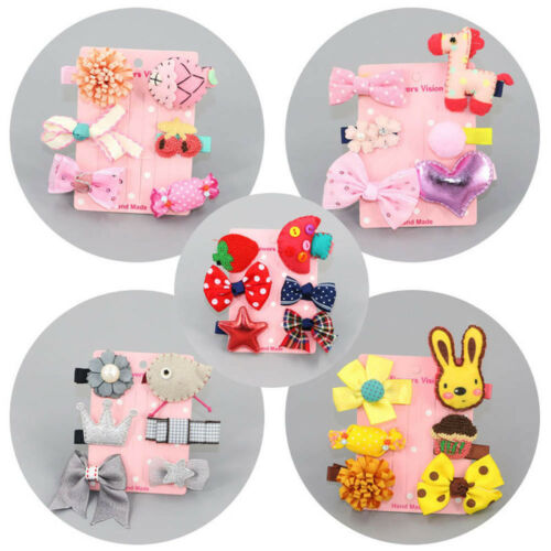 6Pc Kid Infant Baby Girl Hair Clip Bow Flower Cartoon Headwear Hairpin Set H4