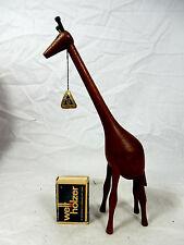 60´s Danish WINI Teak Design Teakholz / teak wood Giraffe + org. label 22 cm