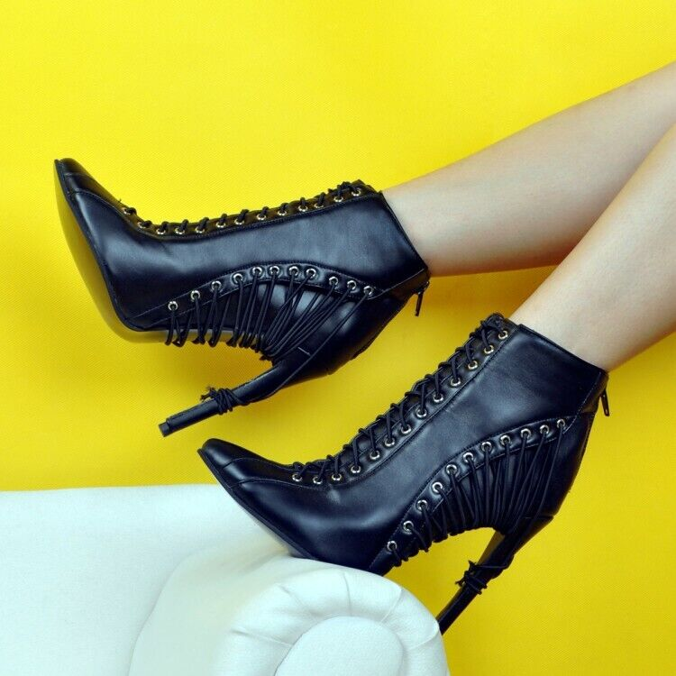 solo per te donna Lace Lace Lace Up Ankle stivali Round Toe Stiletto High Heel Casual avvioies Party  Miglior prezzo