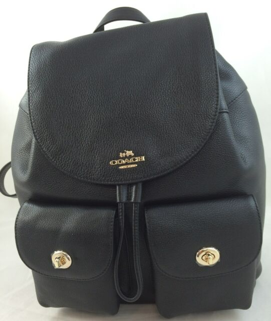 36708d9ef73cf ... top quality new coach f37410 f29008 billie pebble leather backpack  double shoulder bag black be0d9 0eee1