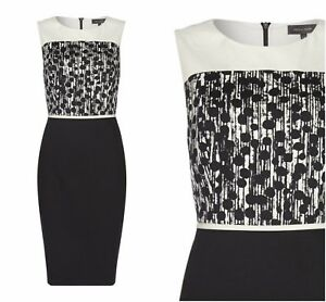 ex-Pied-a-Terre-Monochrome-Polka-Dot-Panel-Sheat-Office-Occasion-Dress