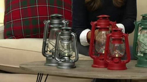 Qvc Ed On Air Battery Operated Set Of 2 Metal Camping Lanterns W Led Light Red For Online Ebay