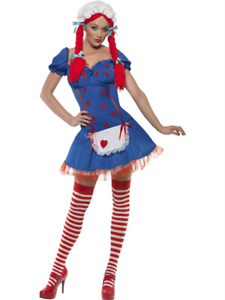 Ladies Smiffy/'s Rag Doll Fever Fancy Dress Costume Party Outfit