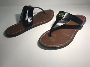 e13ee3d183a Tory Burch Womens CAMERON Black Patent Leather Thong Sandals Size 9 ...