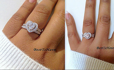 925 Sterling Silver Ladies 2 Piece Heart Wedding Engagement Bridal Ring Set