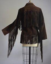 VTG 60s 70s HIPPIE WOODSTOCK BROWN BUCKSKIN SUEDE JACKET w/ INSANELY LONG FRINGE