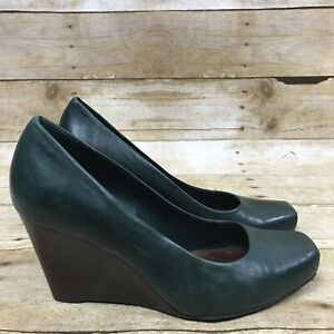 Details about GIANNI BINI Women's Size 6 5 Green Leather Square Toe Wedge  Heel Pumps Shoes