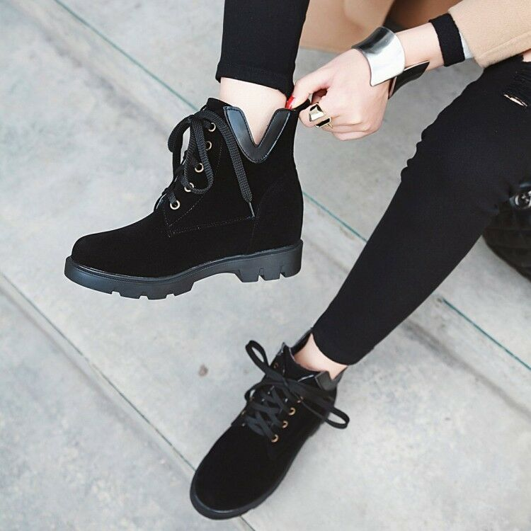 Womens Round Toe Leisure Lace Up Faux Suede Flat Heel Ankle Boots shoes