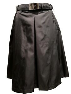 NEW-PRADA-BLACK-LINED-A-LINE-SKIRT-WITH-BELT-40-1100