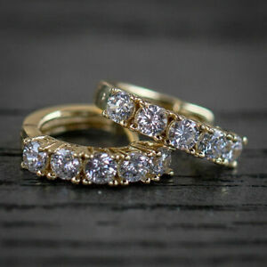 1CT-Round-Cut-Diamond-14k-Yellow-Gold-Over-Engagement-Small-Hoop-Earrings