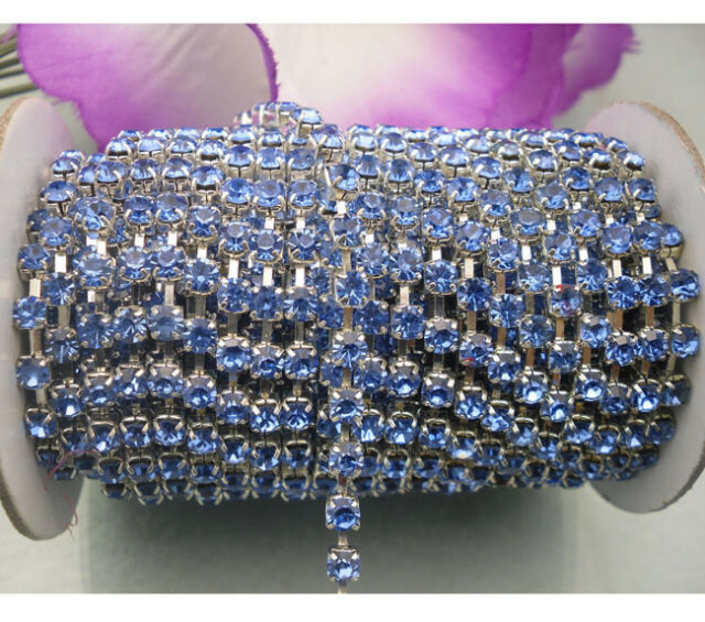 SS12 SS16 Light blue crystal glass rhinestone close Silver chain trims Applique