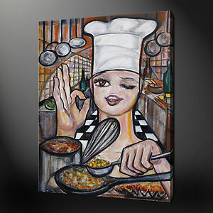Chef Kitchen Design Modern Canvas Wall Art Print Picture Ready To Hang Ebay