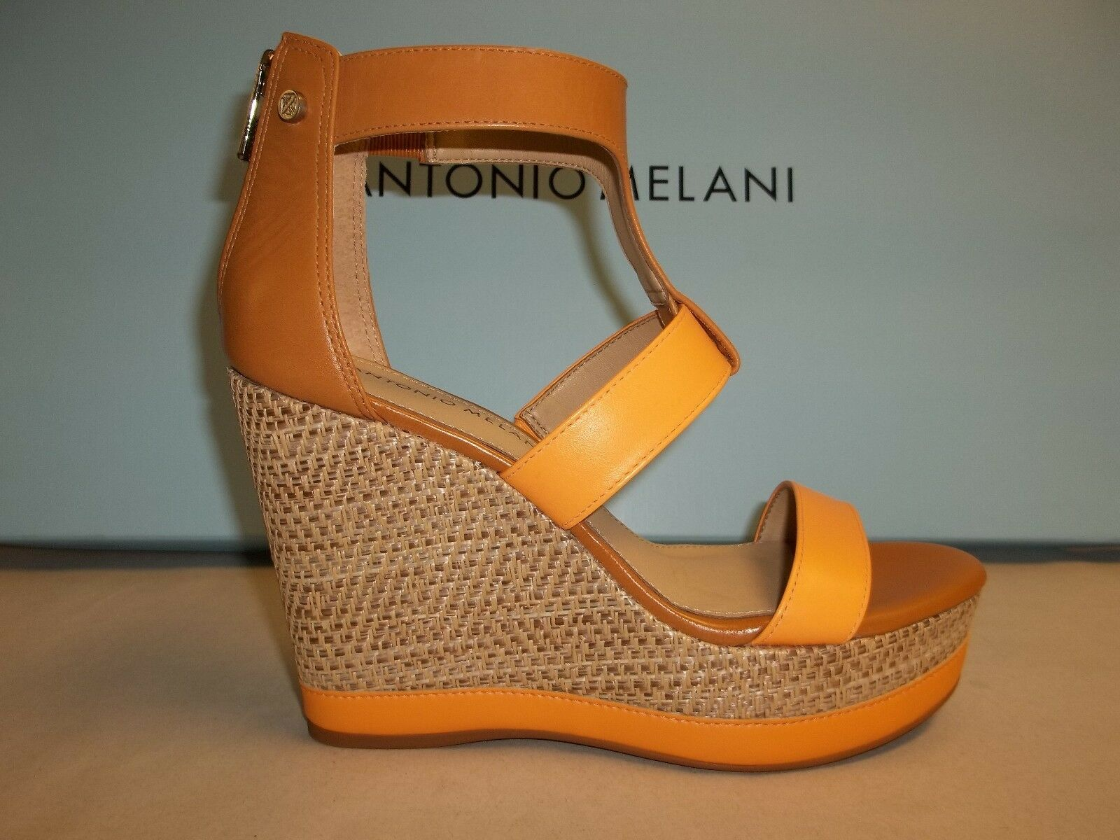 Antonio Melani Size 7.5 M CAM Tan Leather Wedge T-Strap Sandals New Womens Shoes