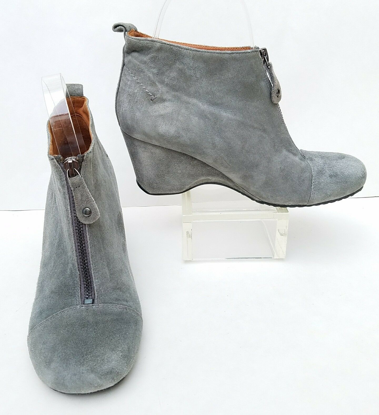NEU Damenschuhe Sz 7 Gentle Souls 'Ridgual' GREY Leder Ankle Boot Bootie Wedge Zip