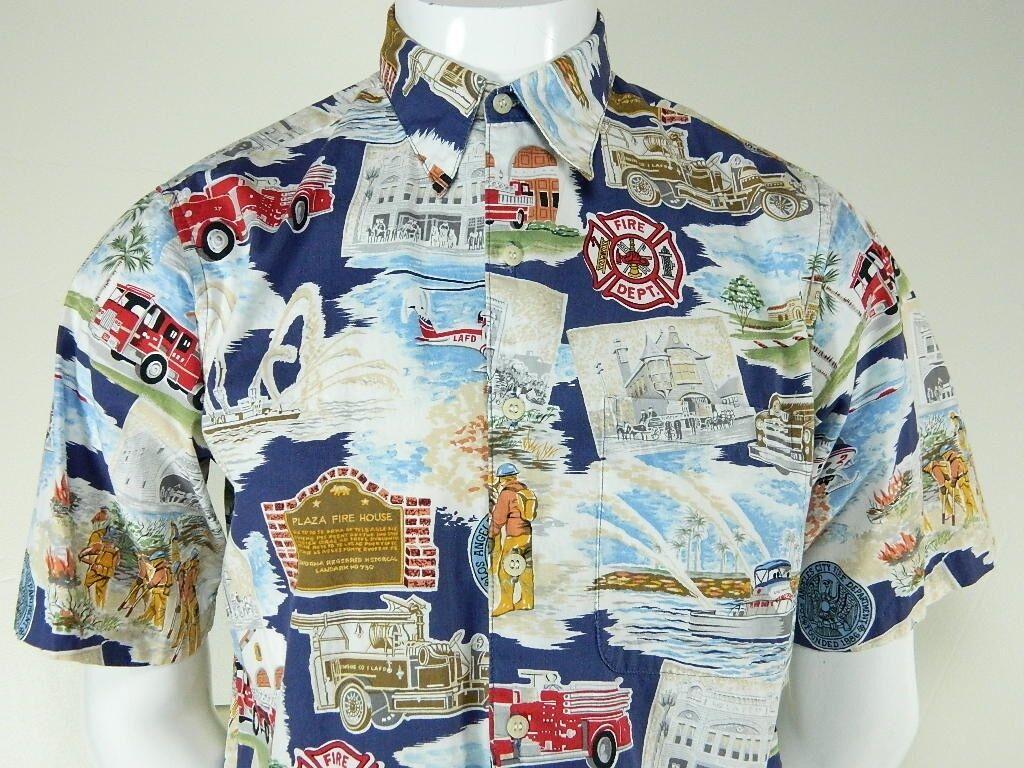 8d8d771b Mens REYN SPOONER Exclusive LAFD Los Angeles Fire Dept Hawaiian Shirt Small