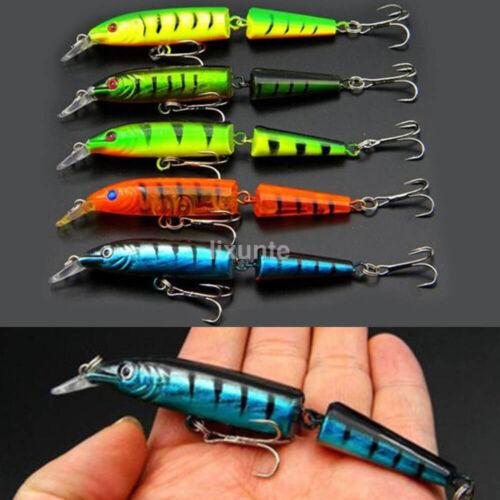 5pc Multi-jointed Minnow Fishing Lures Bait Swimbait CrankBait Tackle 10.5cm UK