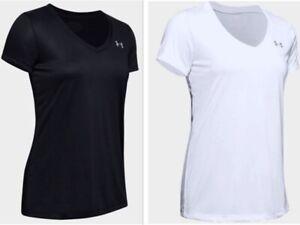 Under-Armour-HeatGear-Womens-UA-Tech-Tee-V-Neck-SS-Tee-1255839-Black-White-Grey