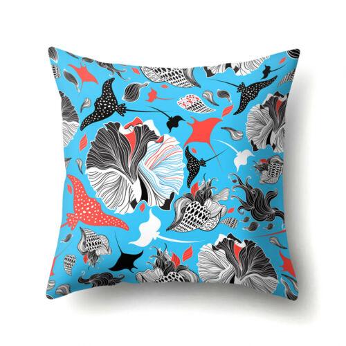 Multicolor Cartoon Print Pillow Case Fox Shark Cushion Cover Home Office Decor