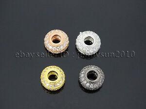 Three-Rows-Zircon-Gemstone-Pave-Big-Hole-Rondelle-Bracelet-Connector-Charm-Bead