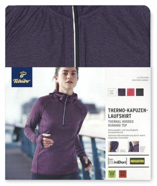 Damen Thermo Laufshirt Funktionsshirt mit Kapuze  Langarm Thermoshirt TCM Tchibo