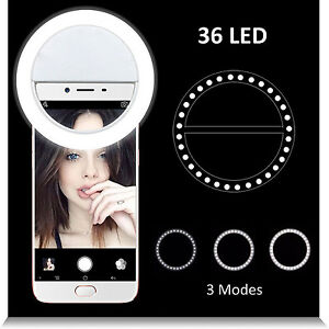 Details about Beauty LED Ring Selfie Flash Fill Light Clip Camera For Phone  iPhone Samsung HTC