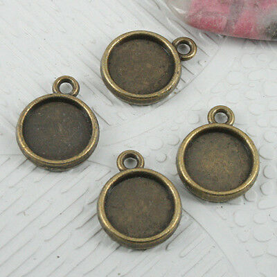 20pcs 15x12mm antiqued bronze 2sided round cabochon settings EF0740