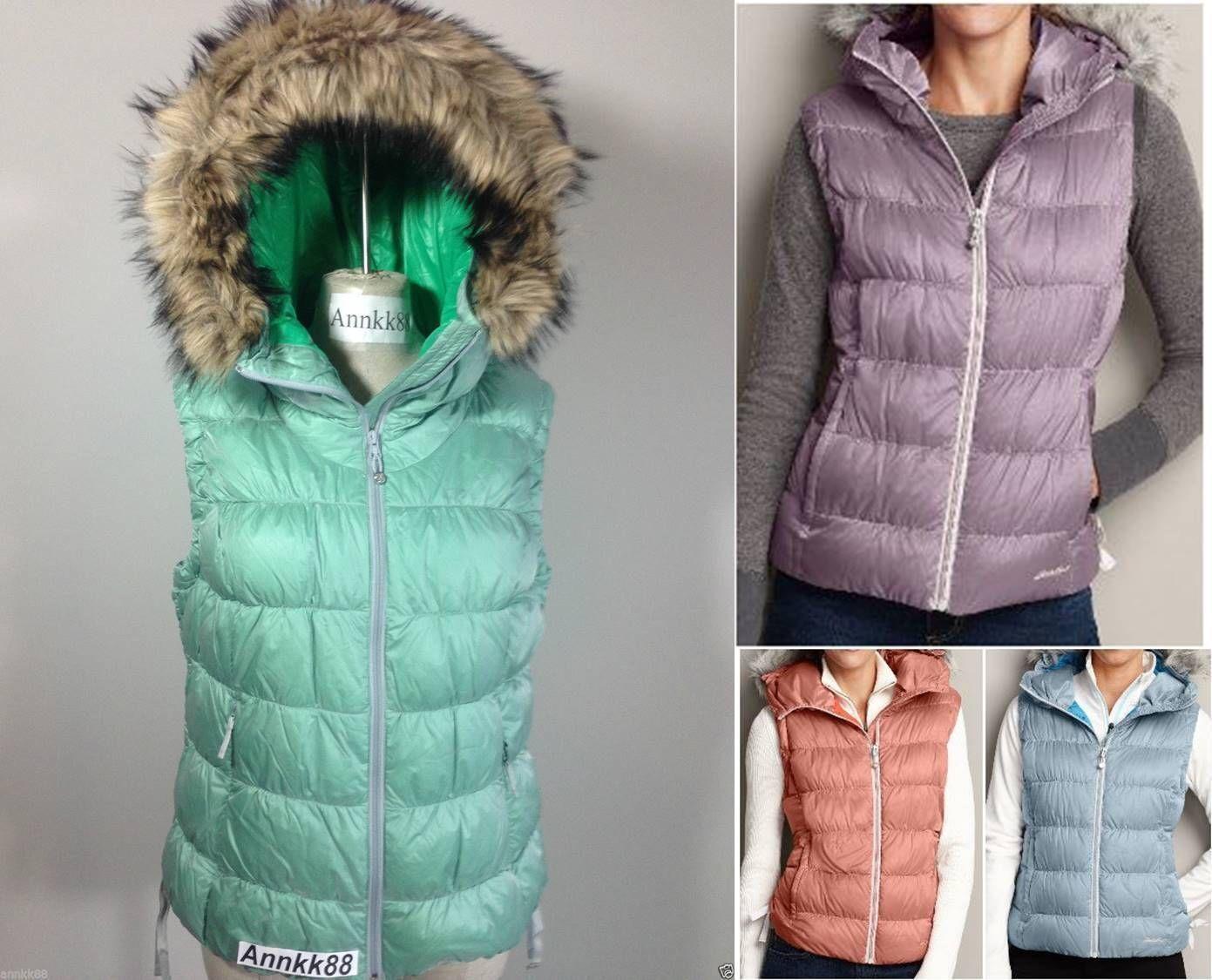 NWT Eddie Bauer Women's Northern Aurora Down Vest 550 FillPower Faux Fur Hooded
