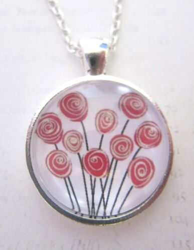 Shabby Chic Bunch of Pink Roses Silver Pendant Glass Necklace New in Gift Bag