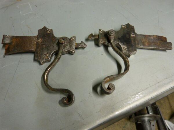2 Ancien Verroux Targettes Clenches Arret De Volet A Mecanisme Fer Forge
