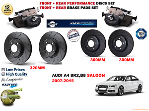 FOR AUDI A4 2.7TD BERLINA 0712 FRONT REAR PERFORMANCE BRAKE DISCS SET+PADS KIT