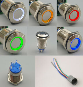 Metal-16mm-12V-ON-OFF-5-Pins-LED-Flat-Round-Head-Maintained-Push-Button-Switch