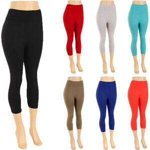 4a2487f14 Womens Plus Size Capri Leggings Crop Stretch Pants Basic Solid Fits ...