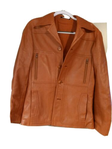 Vintage Induyco 70's Leather Jacket Burnt Orange M
