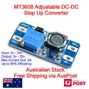 MT3608 Step-up Adjustable DC-DC Converter Power Boost Module 2A 28V Max Arduino