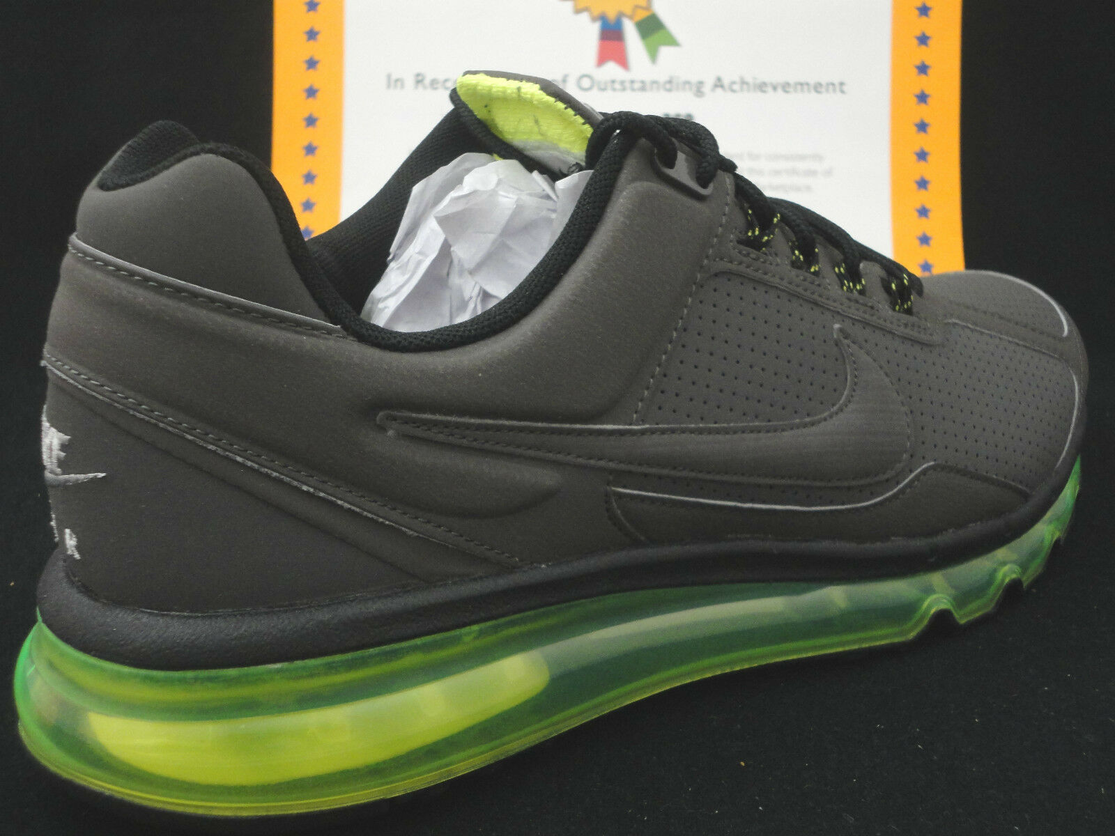 Nike Air Max 2013 Leather, Dark Grey / Volt , MSRP   , Size 8