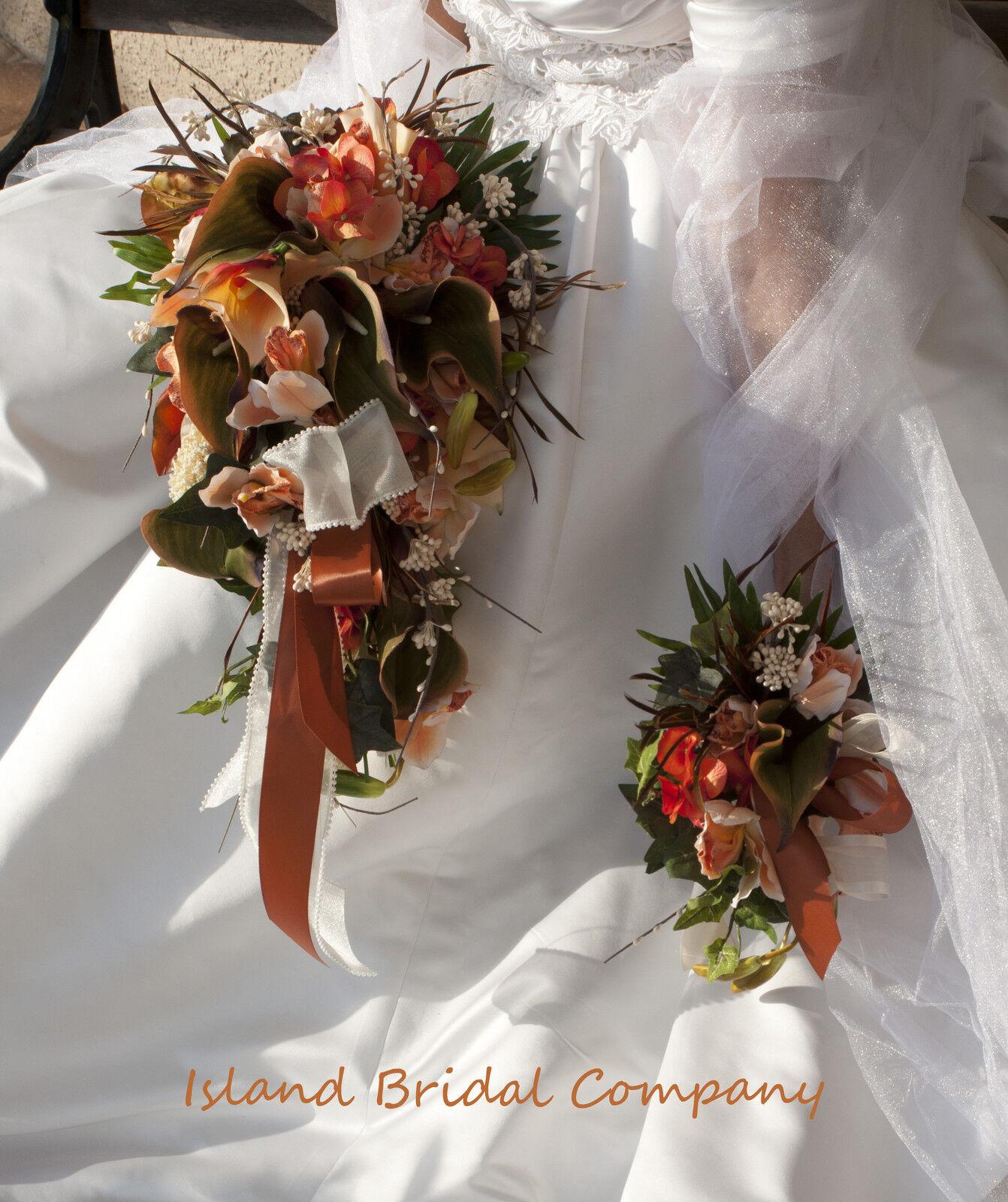 Seda De Novia Boda Ramo Naranja Durazno Marfil Lily Orquídea Diseño Personalizado 12 piezas