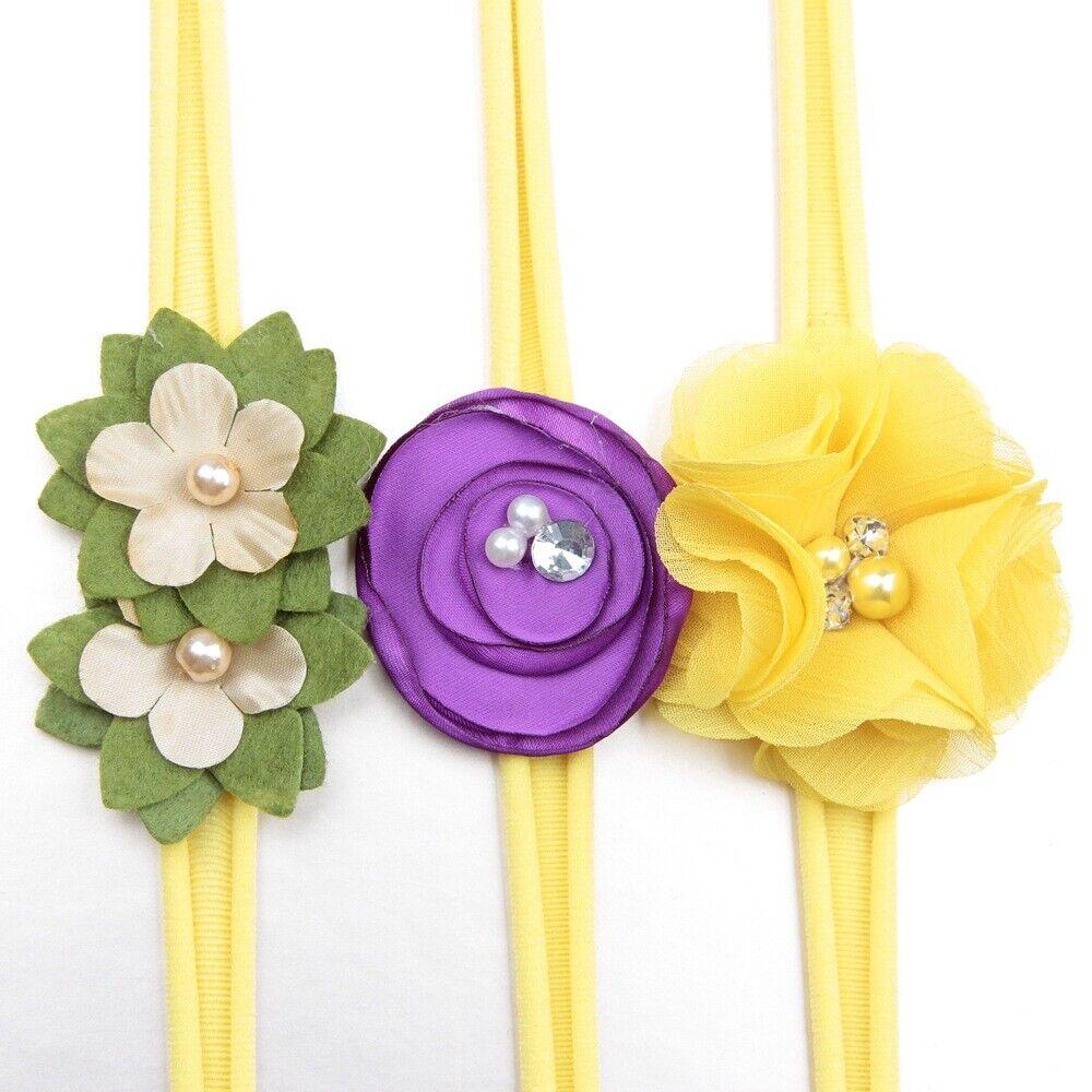 3Pcs/lot Newborn Girl Baby Headband Ribbon Elastic Headdress Kids Hair Band Bow 10