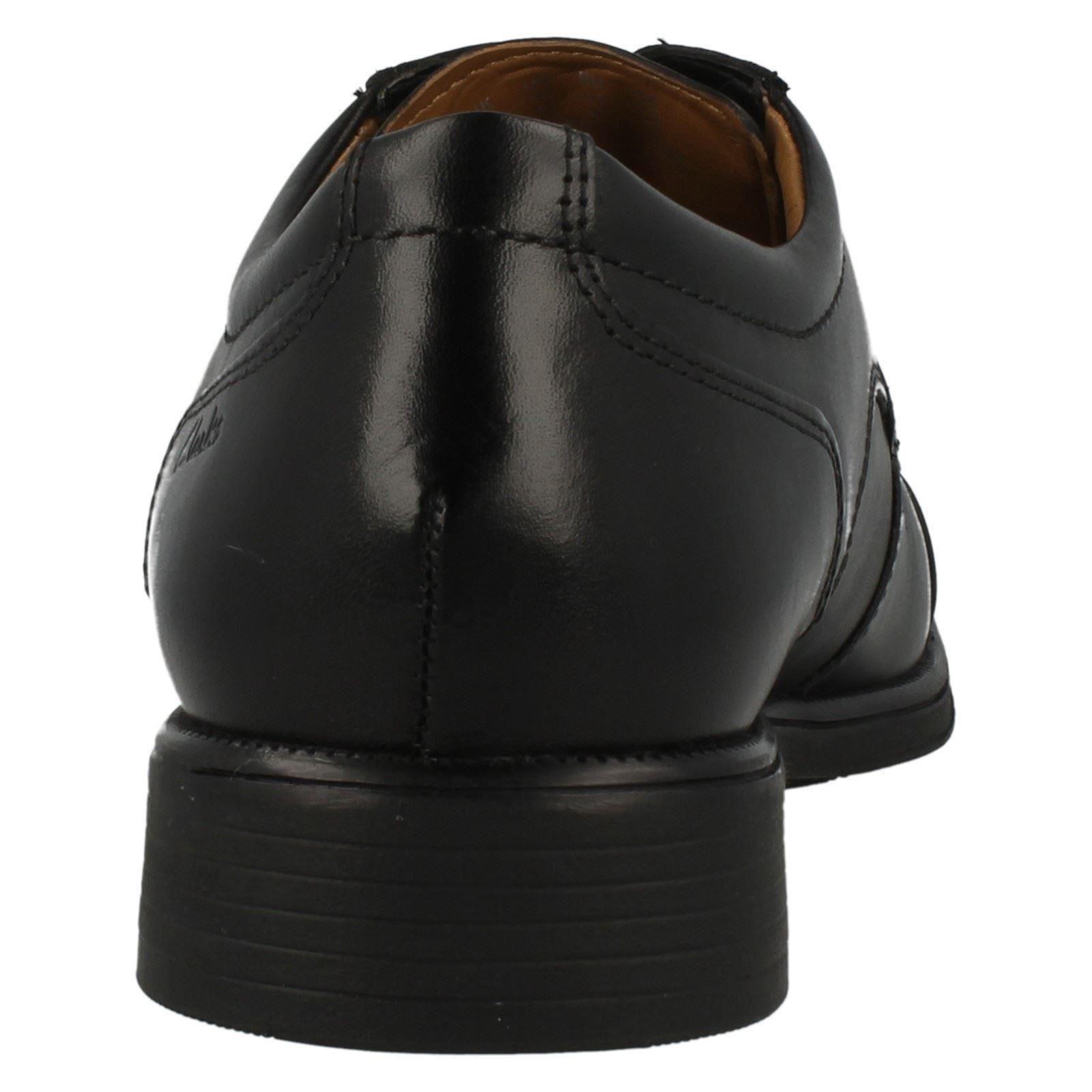 Clarks huckley Gorra Con Cordones Piel Negra Negra Negra Hombre De Trabajo/ 7a51b6