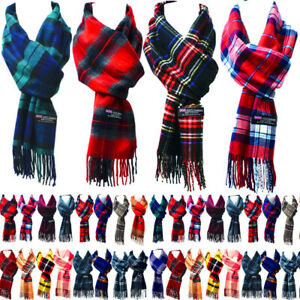 For Womens Mens 100% Cashmere Scotland Made Plaid check Warm Scarves Wool Scarf