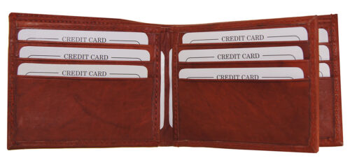 AG Wallets MENS Leather Bifold Wallet 2 Bill Slots 1 ID Flap Zipper Compartment