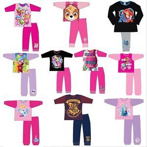 Filles-Enfants-Baby-Disney-Pyjamas-Haut-a-Manches-Longues-amp-Pantalon-Set-Age-1-12-ans