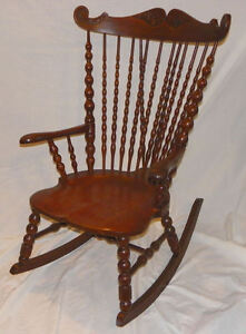 Image Is Loading Antique Victorian High Back Oak Rocker Rocking Chair