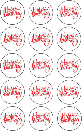 "Happy Birthday Cake Toppers Pre Cut Rice Paper or Icing 15x2/"" Cupcake"