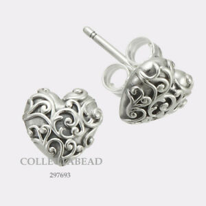 Details About Authentic Pandora Sterling Silver Regal Hearts Stud Earrings 297693