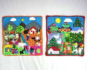 Set-of-2-Vtg-S-American-Guatemala-Alpaca-Farmer-Applique-Folk-Art-Quilt-Panels